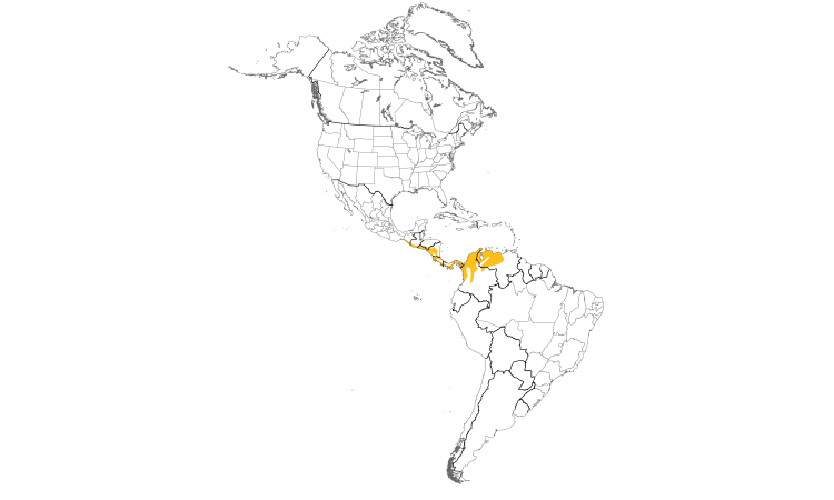 Range Map (Americas): Orange-chinned Parakeet