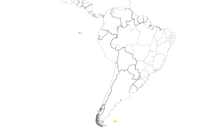 Range Map (South): Striated Caracara