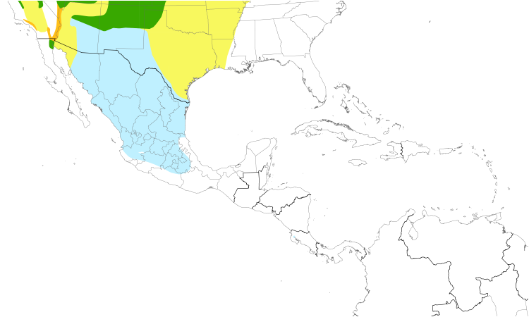 Range Map (Central): Yellow-headed Blackbird