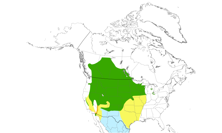 Range Map (North): Yellow-headed Blackbird